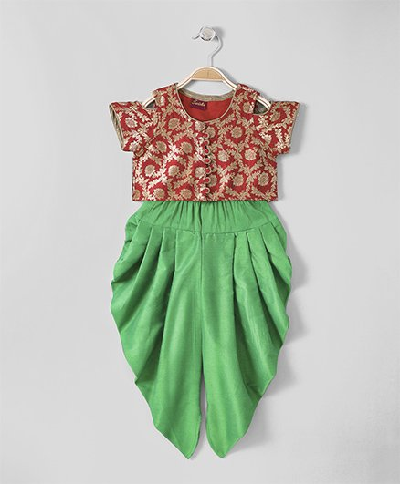 Twisha Cold Shoulder Brocade Top With Dhoti - Red & Green
