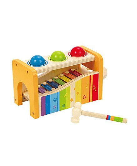Hape Pound & Tap Bench With Xylophone 6 Pieces - Multicolour
