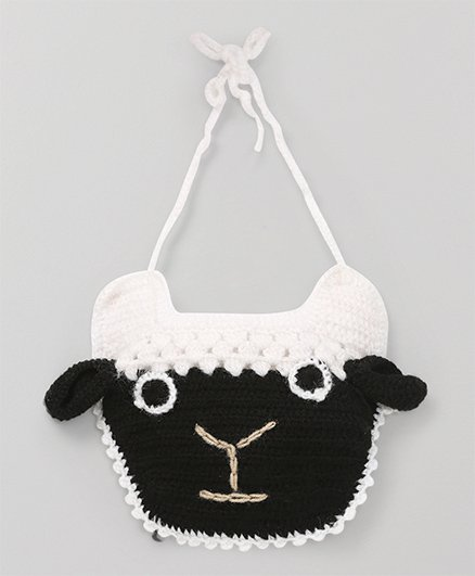 Mayra Knits Sheep Face Bib - White & Black
