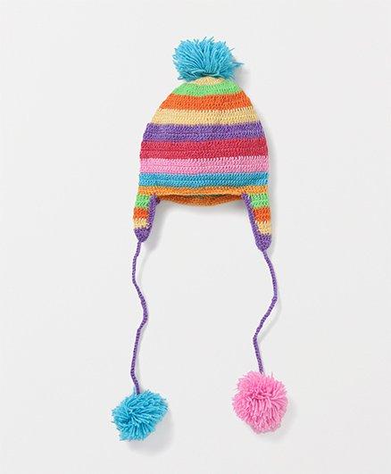 Mayra Knits Pom Pom Stripe Cap - Multicolour