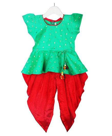 BownBee Stylish Diva Dhoti Peplum Top - Green & Red
