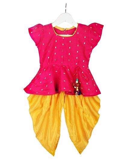 BownBee Stylish Diva Dhoti Peplum Top - Pink & Yellow