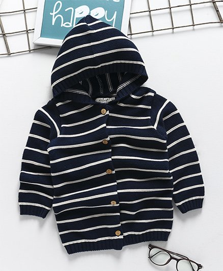Ollypop Full Sleeves Hooded Organic Sweater Striped Design - Navy
