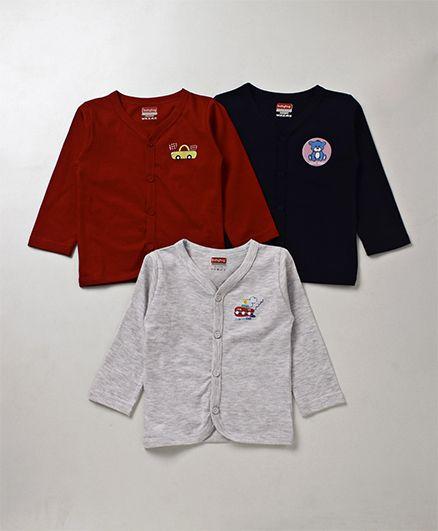 Babyhug Full Sleeves Vest Pack of 3 - Maroon Navy & Grey