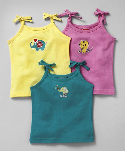 Babyhug Singlet Cotton Slips Pack of 3 - Pink Yellow Green