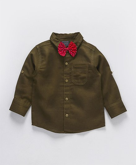 Rikidoos Full Sleeves Shirt With Polka Dot Bow - Khaki