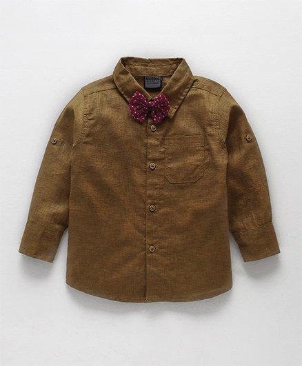 Rikidoos Full Sleeves Shirt With Polka Dot Bow - Brown