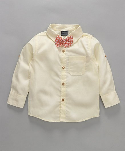 Rikidoos Full Sleeves Shirt With Polka Dot Bow - Cream