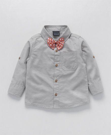 Rikidoos Full Sleeves Shirt With Polka Dot Bow - Grey