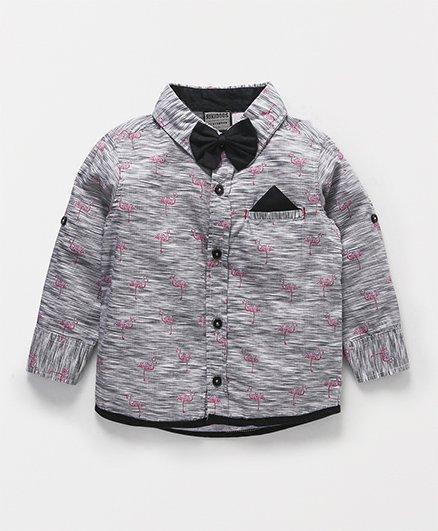 Rikidoos Flamingo Print Shirt With Bow - Grey