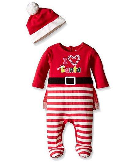 Pre Order - Awabox I Love Santa Design Romper With Cap - Red