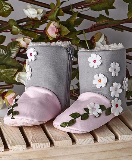 Ivee Floral Print Boots - Pink & Grey