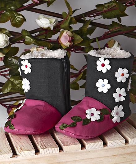 Ivee Floral Print Boots - Rani Pink