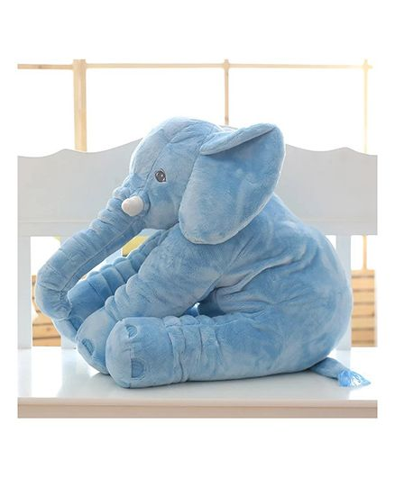 Skylofts Soft Stuffed Elephant Shaped Pillow Cover Toy Blue - Height 20 cm