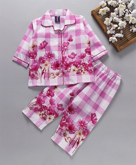 Enfance Core Checks & Floral Print Night Suit - Pink