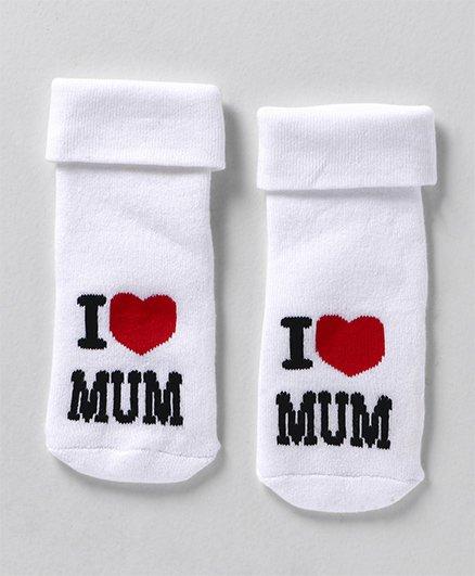 Mustang Ankle Length Socks I Love Mum Design - White