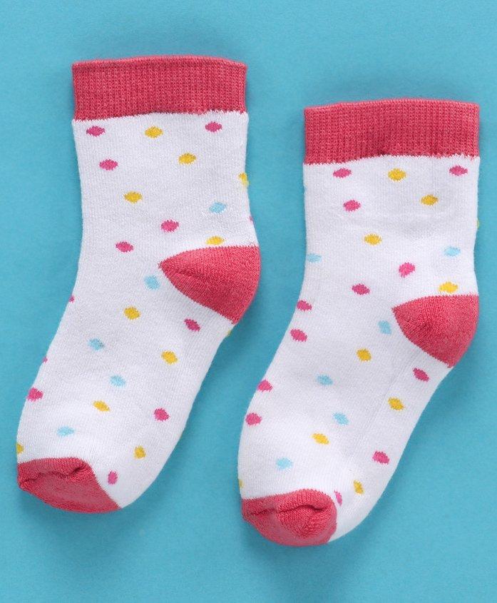 Cute Walk by Babyhug Anti Bacterial Ankle Length Polka Dots Design Socks - Red White