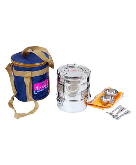 Aristo Steel Picnic Tiffin Box Jumbo Containers set of 4 with Bag