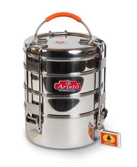 Aristo Stainless Steel Tiffin Box With 4 Stackable Containers - Silver