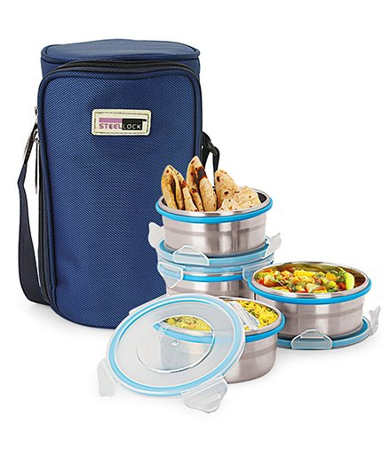 Steel Lock Food Storage Containers Set of 4 With Insulated Bag - Silver Blue