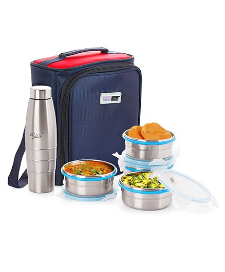 Steel Lock Lunch Box Set With Insulated Bag And Bottle Silver - 400 ml