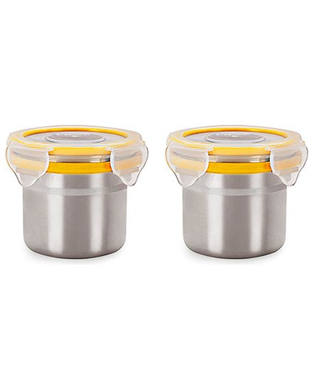 Steel Lock Airtight Food Storage Containers Set of 2 - Silver Yellow