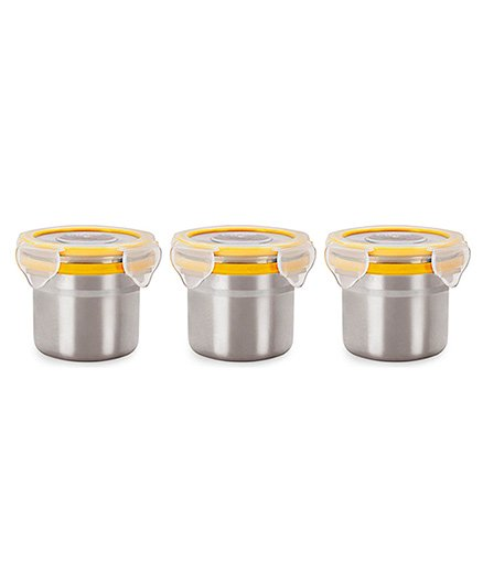 Steel Lock Airtight Food Storage Containers Set of 3 - Silver Yellow