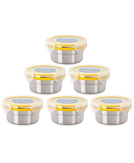 Steel Lock Airtight Food Storage Containers Set of 6 - Silver Yellow