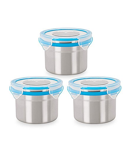 Steel Lock Airtight Food Storage Containers Set Of 3 - Blue