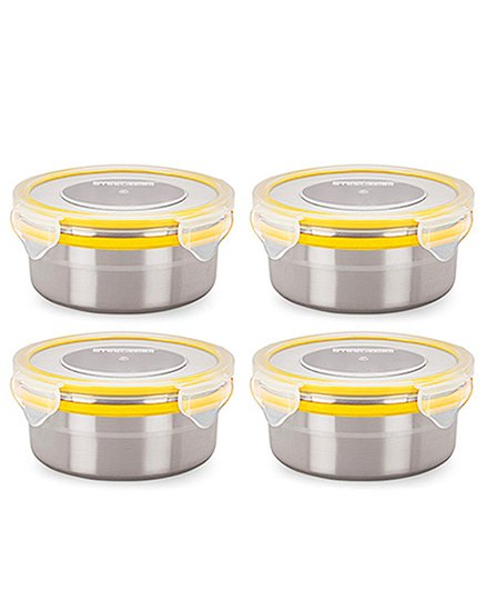 Steel Lock Airtight Food Storage Containers Set of 4 - Yellow