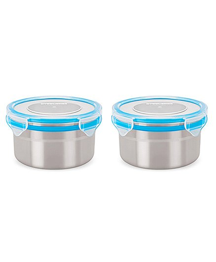 Steel Lock Airtight Food Storage Containers Set of 2 500 ml each - Blue