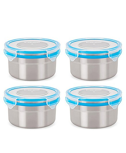 Steel Lock Airtight Food Storage Containers Set of 4 500 ml each - Blue