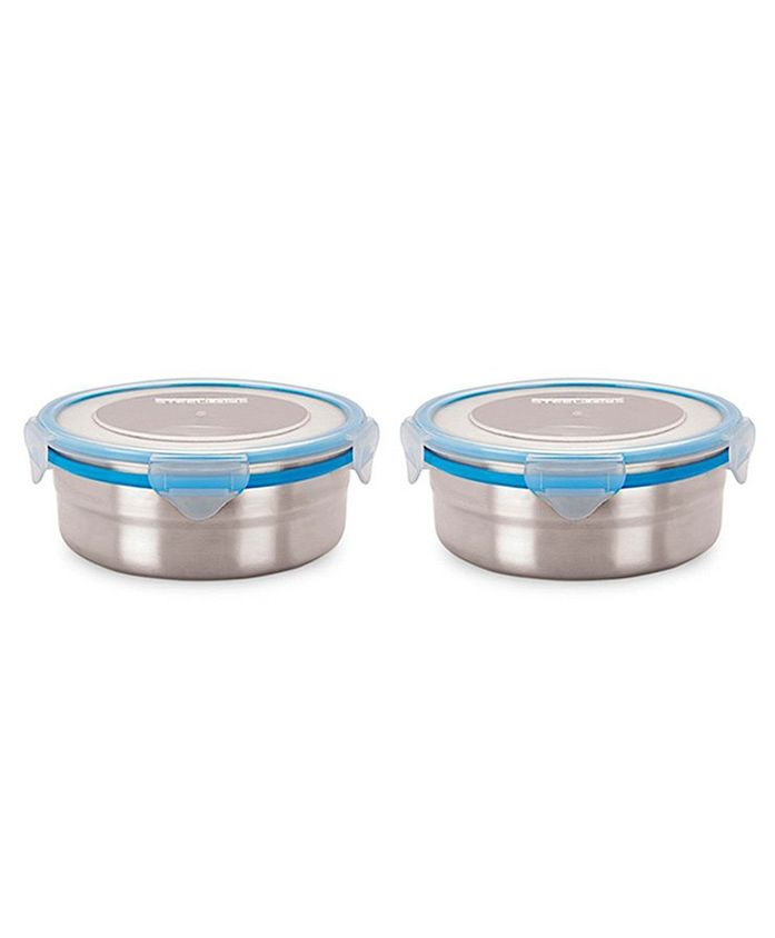 Steel Lock Airtight Food Storage Containers Set of 2 - Silver Blue