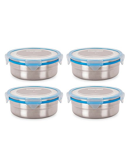 Steel Lock Airtight Food Storage Containers Set of 4 - Silver Blue