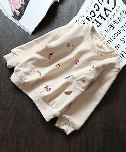 Awabox Cute Design Sweatshirt - Beige
