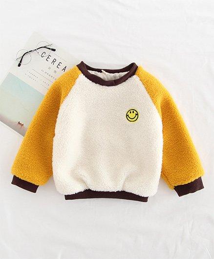 Awabox Smile Design Fleece Sweatshirt - Yellow