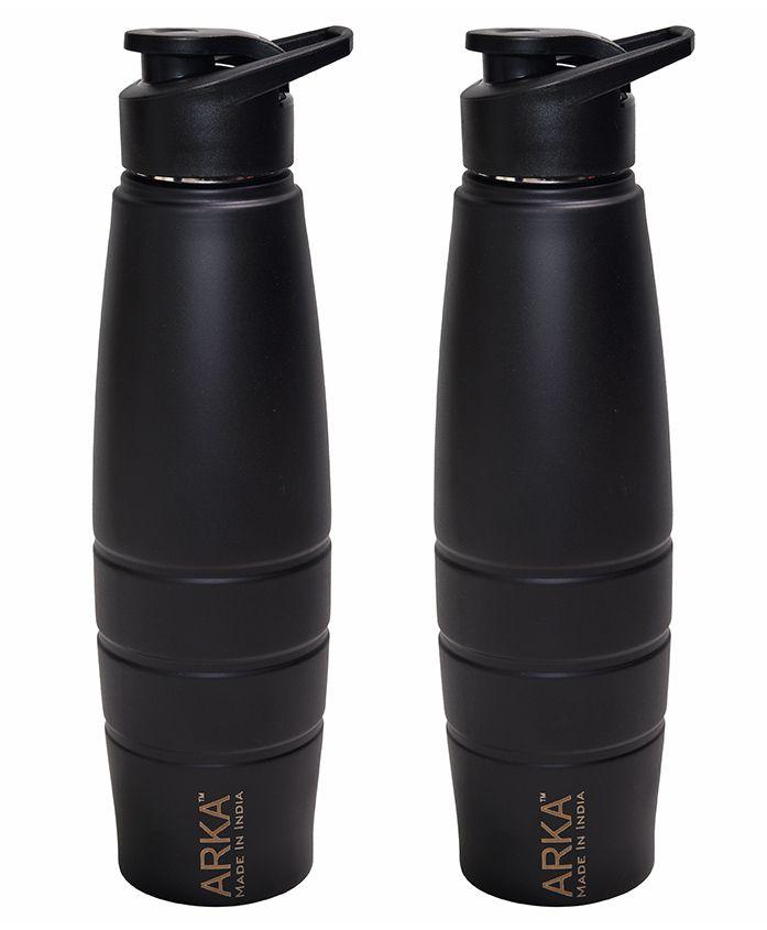 Pexpo Duro Matt Sipper Bottles Black Pack of 2 - 1000 ml