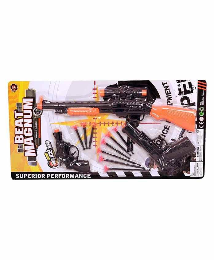 Planet of Toys Beat Magnum Soft Bullet Gun Set of 3 - Black Orange