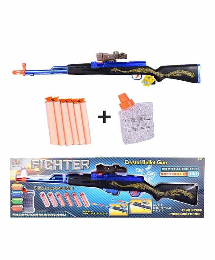 Planet of Toys 2 In 1 Gun With Water & Foam Bullets - Blue Black