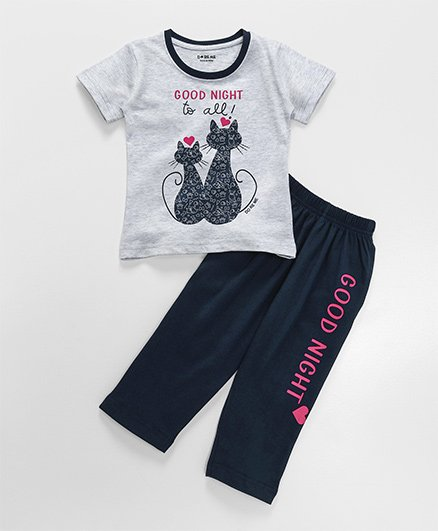 Doreme Short Sleeves Night Suit Kitty Print - Grey & Navy