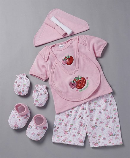 Mee Mee Clothing Gift Set Strawberry Print & Embroidery Pack Of 8 - Pink