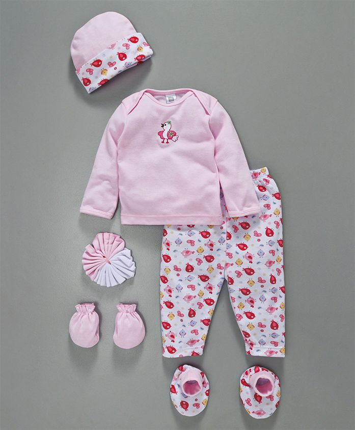 Mee Mee Clothing Gift Set Bird Print & Embroidery Pack Of 7 - Pink