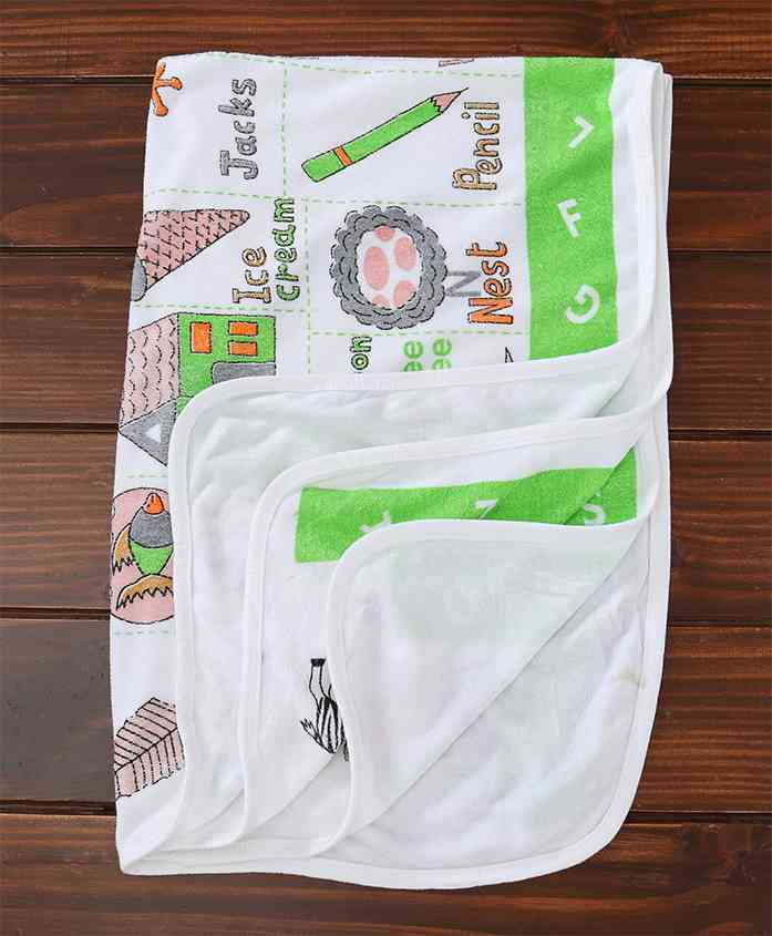 Mee Mee Towel Alphabet Print - White & Green