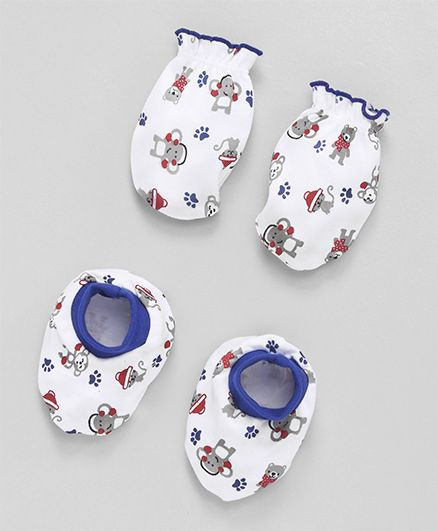 Babyhug Mittens And Booties Set Monkey Print - White & Blue