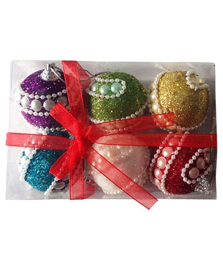 Funcart Pearl Decorated Christmas Balls Decor Multicolor - Pack of 6