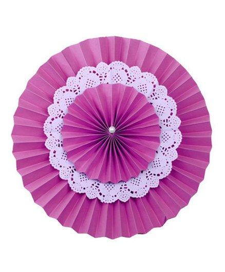 Funcart 3 Layer Paper Fan Hanging Decoration Pink - Diameter 30 cm