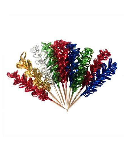 Funcart Metallic Fringes Toothpicks Multi Color - Pack of 10