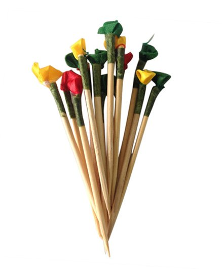Funcart Flowers Topper Toothpicks Multi Color - Pack of 30