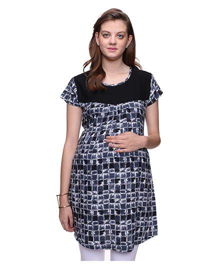 Mamma's Maternity Short Sleeves Nursing Tunic Printed - Black