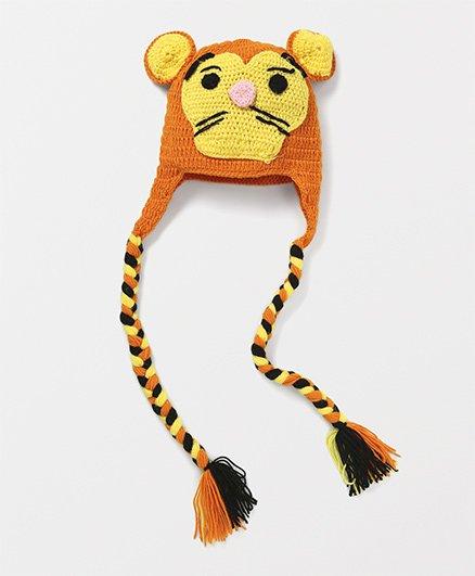Mayra Knits Cat Design Funky Winter Cap - Orange & Yellow